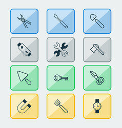 tools icons set with pitchfork battery shovel vector image