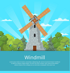 Traditional old windmill on nature background vector