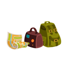 travel objects - suitcase backpack and street map vector image