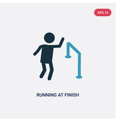 Two color running at finish line icon from people vector