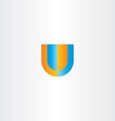 U letter logo orange blue icon vector