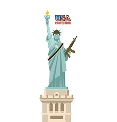 USA protection Statue of Liberty with gun Symbol vector image