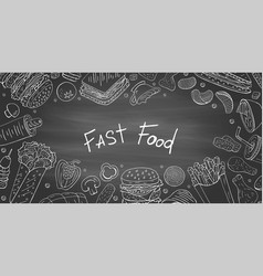 vintage horizontal banner with fast food vector image