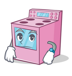 Waiting gas stove character cartoon vector