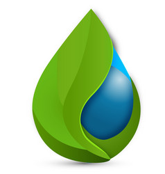 Water drops green ecology leafs logo vector