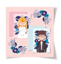wedding couple flower romantic invitation card vector image