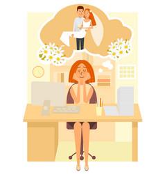 wedding dreams flat style design vector image