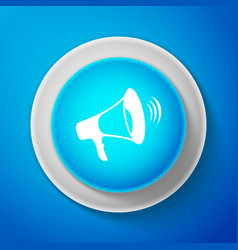 white megaphone icon isolated on blue background vector image