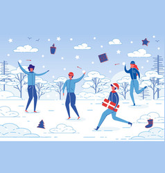 winter outdoor activity - people fun together vector image