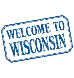 Wisconsin - welcome blue vintage isolated label vector