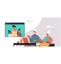woman with children having virtual meeting vector image