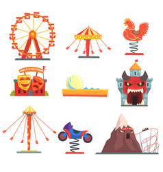 amusement park with family attractions set of vector image