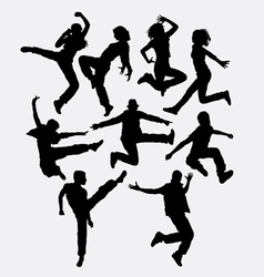 Modern dance man and women action silhouette vector image