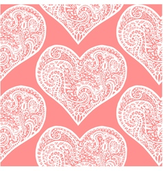 seamless pattern from white hand drawing hearts vector image vector image