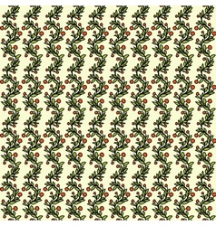 Seamless pattern with evergreen branches and red vector image vector image