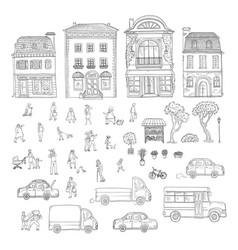 set sketch urban street in the vector image vector image
