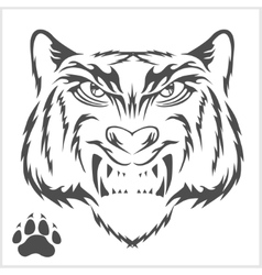Tigers head and foot print tattoo design vector image