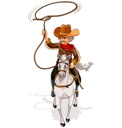 A cowboy riding a horse while holding a rope vector image