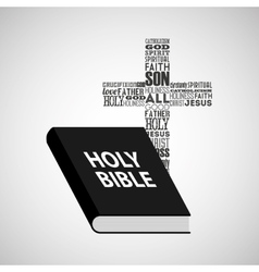holy bible religious cross with words vector image