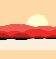hot desert landscape with a mountain silhouette vector image