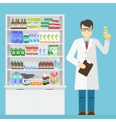 Male pharmacist holding in the hands of the vector image vector image