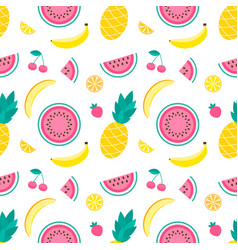 pattern with pineapple lemon melon watermelon vector image vector image