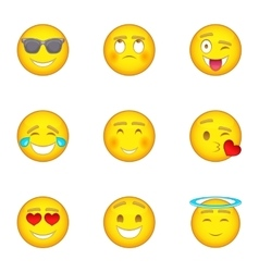 Smiley icons set cartoon style vector image