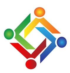 Teamwork charity people logo vector image vector image