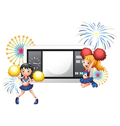 An empty scoreboard with two cheerdancers vector image vector image