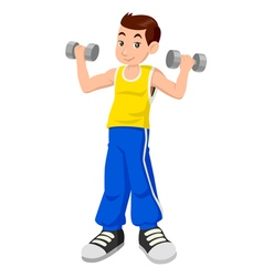 Boy with dumbbells vector