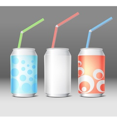 Collection of colorful steel cans with ornament vector image vector image