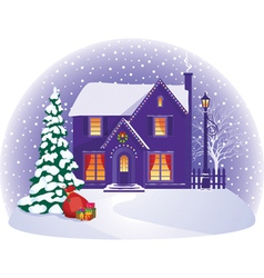 House in winter Christmas night vector image vector image