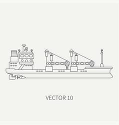 Line flat retro icon container cargo ship vector