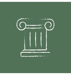 Ancient column icon drawn in chalk vector image