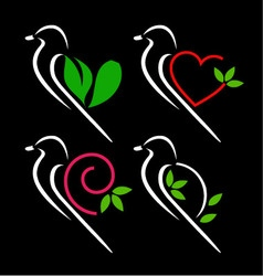Birds with creative wings vector image