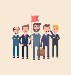 businessmen and their leader with a flag vector image vector image