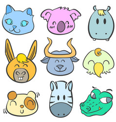 collection of animal colorful doodles vector image vector image