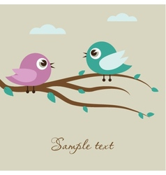 Cute birds on the tree branch vector image