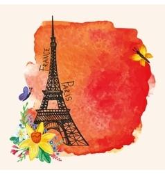 Eiffel towerWatercolor spotNarcissus bouquet vector image