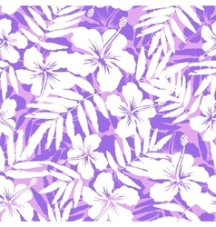 Pink and white tropical flowers silhouettes vector image