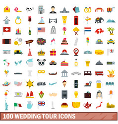 100 wedding tour icons set flat style vector