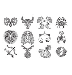 12 signs zodiac tattoos vector image