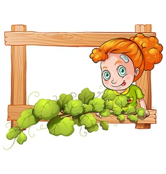 A frame with vine plants and a young girl vector image
