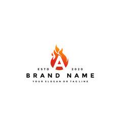 A letter logo fire design vector
