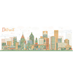 Abstract detroit skyline with color buildings vector