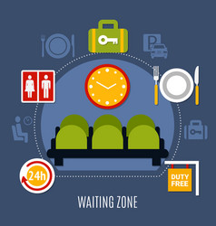Airport waiting zone flat poster vector