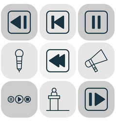 Audio icons set collection of rostrum bullhorn vector