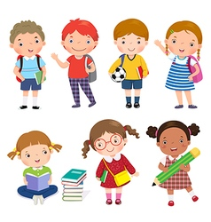 Back to school Set of school kids in education vector
