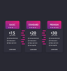 banner for tariffs pricing table boxes vector image