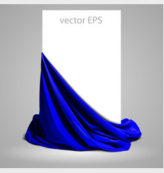 Beautifully draped blue silk place for your text vector